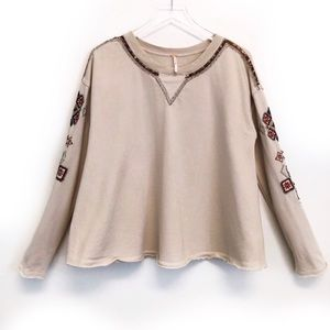 Free People Cream Sequin Embellished Swing Sweater